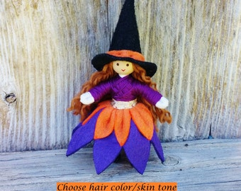 Witch Doll - Halloween Toy - Halloween Doll - Switch Witch  Miniature Witch - Halloween Decor - Purple - Orange -  Bendy Doll