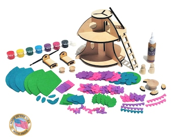Fairy House Kit, Fairy Toys, Crafts for Girls, Fairy Garden, Fairy Houses, Fairy Kit, Fairy Dollhouse,  Kid's Craft Kit, Peg Doll Fairy