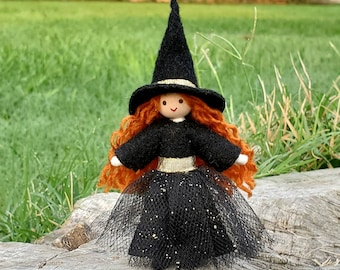 Cute Witch Doll - Sweet Witch Figurine  Handmade - Small Witch Doll - Bendy Doll - Halloween Witch - Tiny Witch Doll - Wildflower Toys
