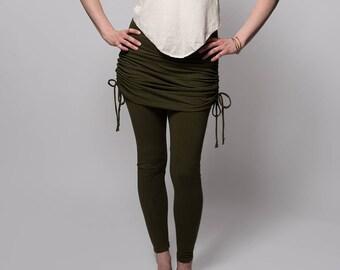 Skirted Leggings - Womens Leggings - Hemp Leggings - Ruched Skirt - Adjustable Skirt - Hemp, Organic Cotton - Natural Leggings - Cinch Skirt