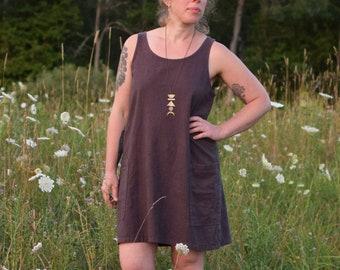 Athena Shift Dress (Linen Dress - Sundress - Above Knee Dress - Hemp/organic Cotton - Chambray - Short dress - Summer dress - Hemp clothing)