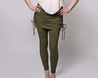 Organic Skirted Leggings (Womens Leggings - Hemp Leggings - Ruched Skirt - Adjustable Skirt - Natural Leggings - Cinch Skirt)