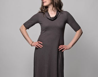 Organic Solstice Maxi Dress (Cowl neck - Ankle length - Aline - Hemp/organic cotton knit - Below knee dress - Hemp dress - Hemp clothing)