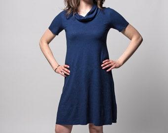 Organic Solstice Dress (Cowl neck - Knee length - Aline - Hemp/organic cotton knit - Short dress - Hemp dress - Hemp clothing)