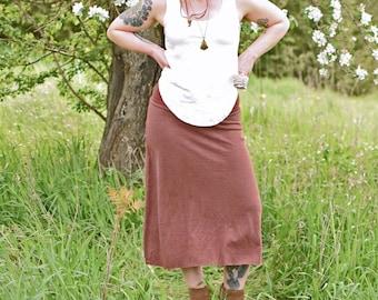 Hemp Essential Midi Skirt.  (Hemp - Organic Cotton - Jersey Skirt - Calf Length Skirt - Below Knee Skirt - Aline Skirt)