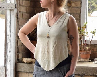 Organic Pixie Top. Angled Hem.  V Neck.  Reversible. Crop Top. Boho. Sleeveless. Tank Top. Asymmetrical. (hemp/organic cotton knit)