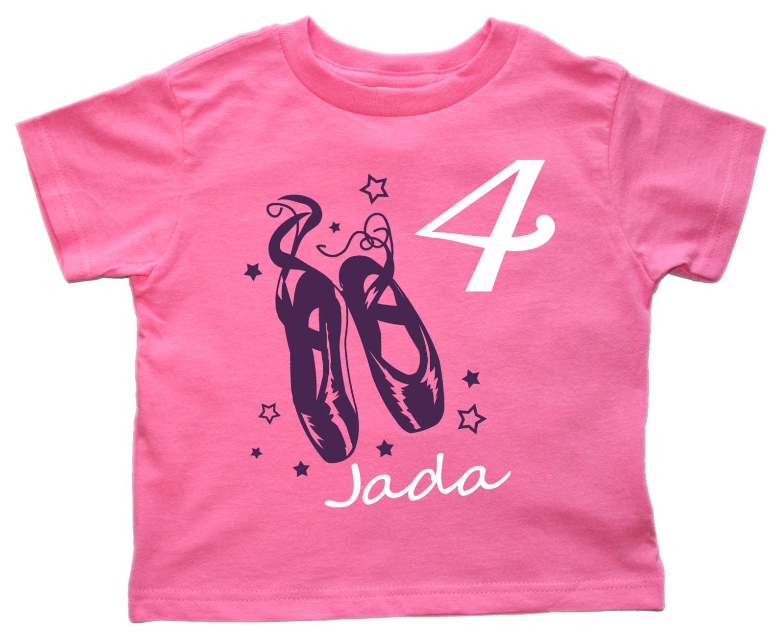 ballet shoes girls ballerina birthday shirt personalized - any age and name - you pick the colors!