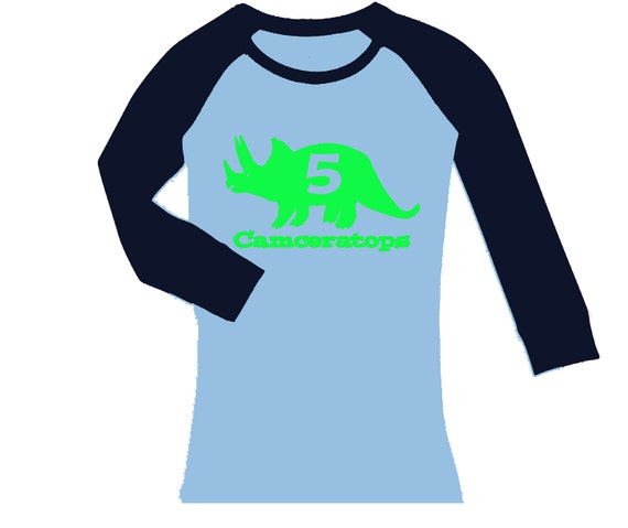 Triceratops Dinosaur Name Birthday Personalized Shirt - fitted cropped/long  sleeve raglan shirt - any age and name - pick your colors!