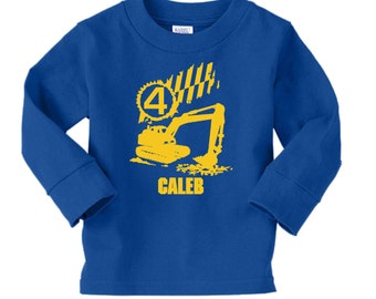 Digger Birthday Shirt - long sleeve tshirt - any age and name - pick your colors! Construction Party