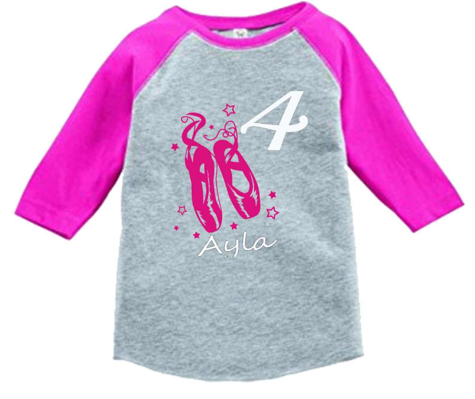 ballet dance shoes birthday shirt - 3/4 or long sleeve relaxed fit raglan baseball shirt - any age and name - pick your colors!