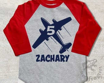 Airplane Birthday Shirt Personalized - 3/4 or long sleeve relaxed fit raglan baseball shirt - Any age and name - pick your colors!