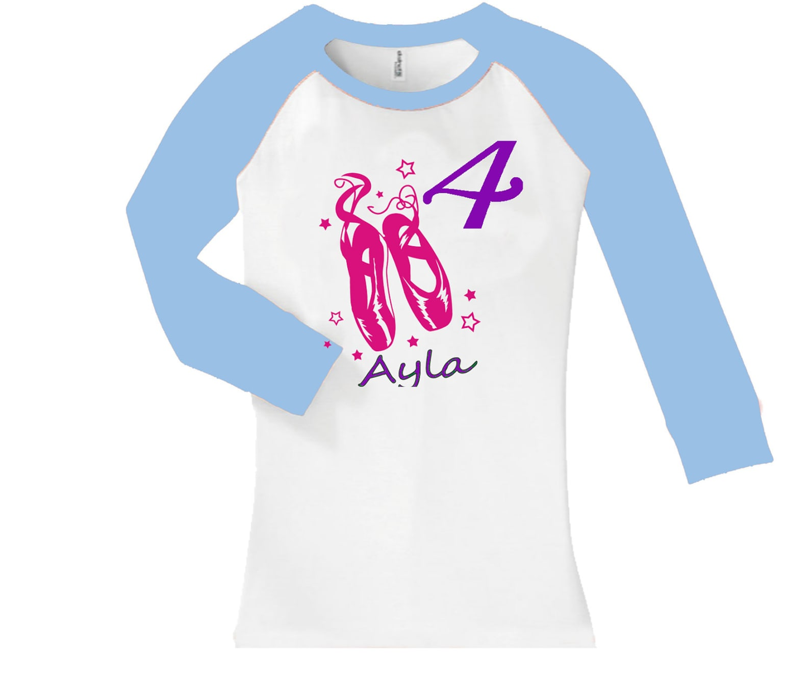 birthday ballet dance shoes shirt - cropped/long sleeve fitted raglan baseball shirt - any age and name - pick your colors!