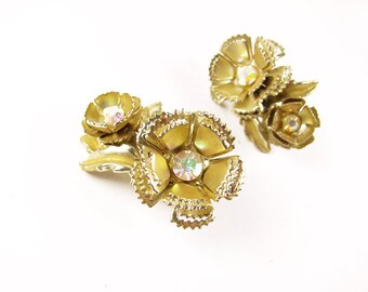 Vintage AB Flower Rhinestone Earrings in Gold