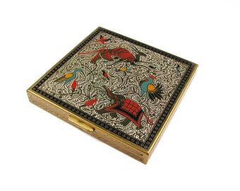 Vintage Volupte Gold Mirror Compact Case in Gold with Elephants, Antelopes, Birds, Collectible