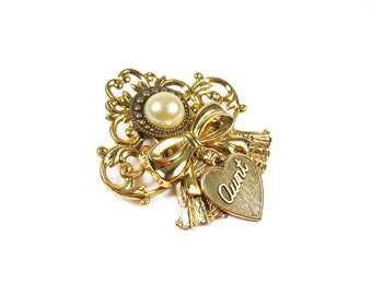 Vintage Aunt Love Brooch Gold Tone with Faux Pearl