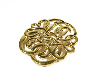 Vintage Brooch with Ornate Swirl Design in Gold Tone