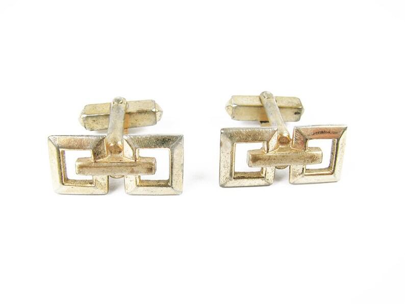 Geometric Cufflinks  Vintage Wedding Vintage Mod Cufflinks in Gold Tone Boutons de Manchette MyChouChou
