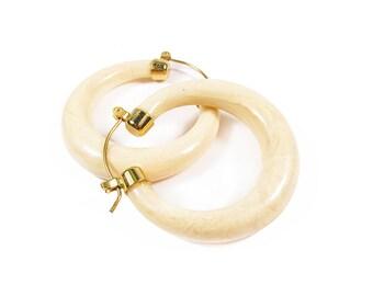 Vintage Ivory Marble Earrings in Gold Tone