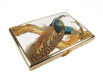 """Vintage Peacock Cigarette Case, Japan, 5"""" x 3.5"""""""