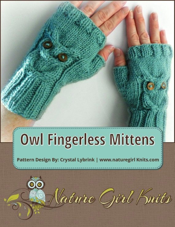 Knitting Pattern Owl Cable Knit Fingerless Mittens Pdf Etsy