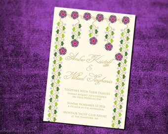 Indian Wedding Invitation Card Royal Peacock Diy Printable Set Etsy