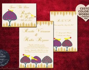Indian Wedding Invitation Card Set Royal Peacock Hindu