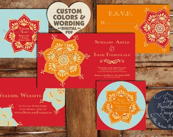 Indian Wedding Invitation Card Garden Of Persia Hindu Sikh Etsy