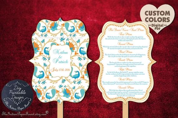 PRINTABLE Indian Wedding Ceremony Program Fan Pdf Hindu Saat