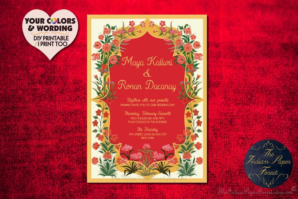 Garden Of Persia Indian Wedding Invitation 2019 Destination Etsy