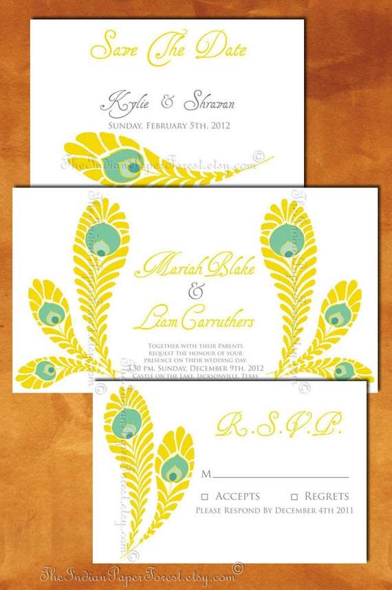 Indian Wedding Invitation Card Royal Peacock Custom Design Hindu Muslim Punjabi Bengali Sikh Jain Gujarati Program Set Thai Destination Boho