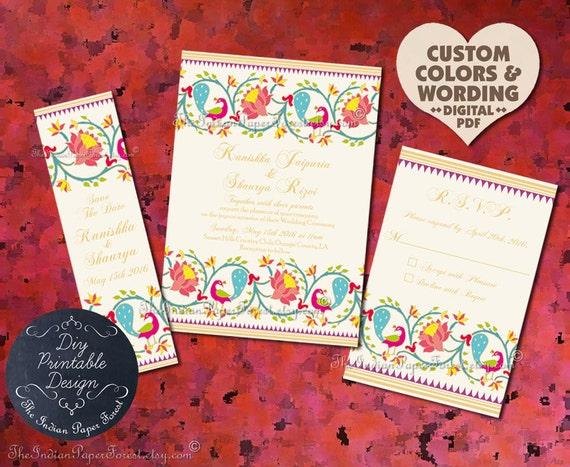 Indian Wedding Invitation Suite Design Pdf Template DIY PRINTABLE Paithani Lotus Peacock Engagement Party Cheap Set Online Card Destination