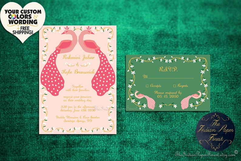JASMINE PEACOCKS Indian Wedding Invitation Card Evite Invitation Set Mehndi Reception Engagement Anniversary Destination UK Deposit Payment