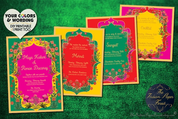 Indian Wedding Invitation Set Garden Of Persia Card Destination Hindu Sikh Muslim Punjabi Gujarati Jain Asian Arab Nepali Srilankan Rajput