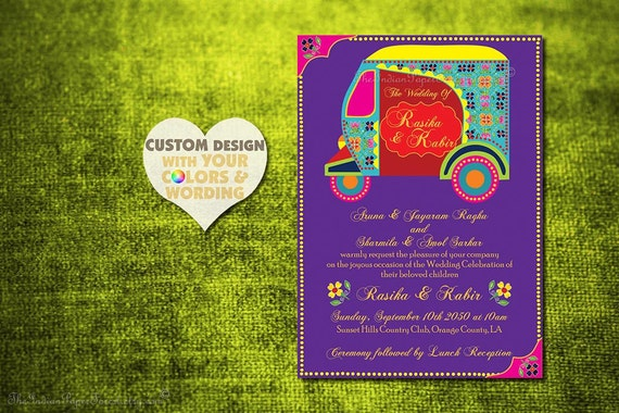 Boho Indian Wedding Invitation Card Design Auto Rickshaw Tuktuk Set Suite Rustic Hindu Asian Thai Punjabi Sikh Indonesian African