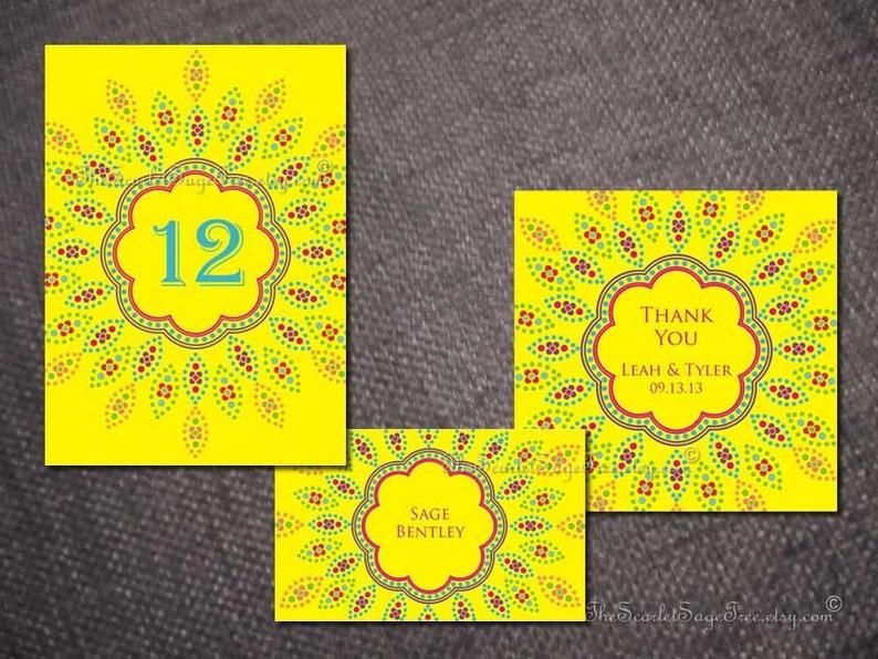 Indian Wedding Place Card Sunburst Flower Boho Mexican Rustic Escort Favor  Tag Seating Name Thai Punjabi Sikh UK USA Asian Destination Gift