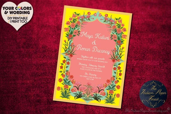 Indian Wedding Invitation Garden Of Persia Set Hindu Sikh Etsy