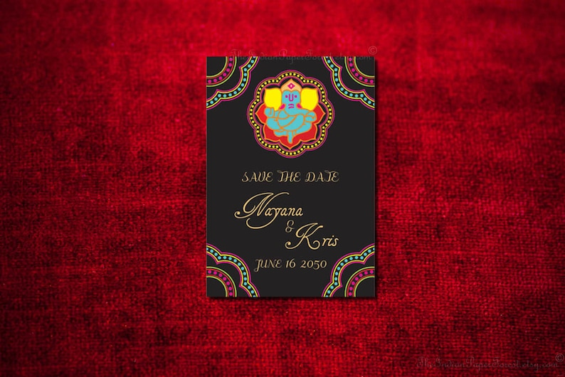 Indian Wedding Save The Date Card Design Ganesha Hindu Jain Etsy