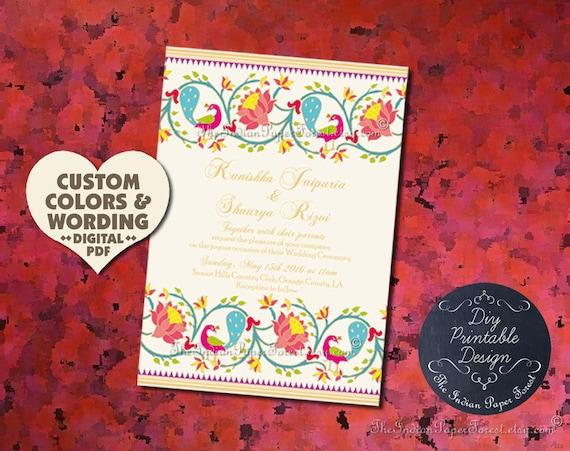 Indian Wedding Invitation Card Design Template Paithani Lotus Etsy