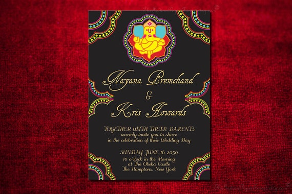 Ganesha Indian Wedding Invitation Design Card Engagement Party Bridal Shower Housewarming Hindu Jain Marathi Gujarati Invite Destination New