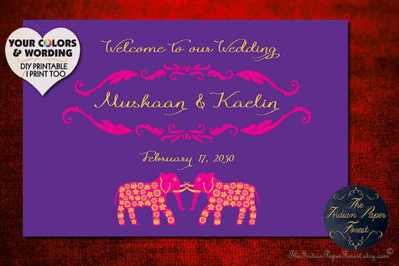 GRAND ELEPHANTS Mehndi Wedding Sign Indian Mehendi Decoration Decor Signage Haldi Sangeet Reception Maiyan Hindu Punjabi Muslim Gujarati USA