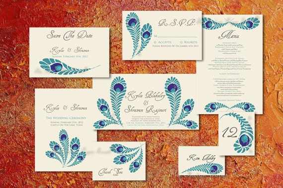 Indian Wedding Invitation Set ROYAL PEACOCK Save The Date