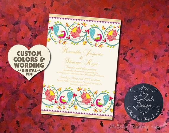 indian wedding ceremony program template paithani lotus etsy