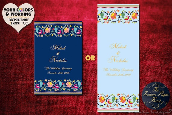indian wedding ceremony program template paithani lotus etsy
