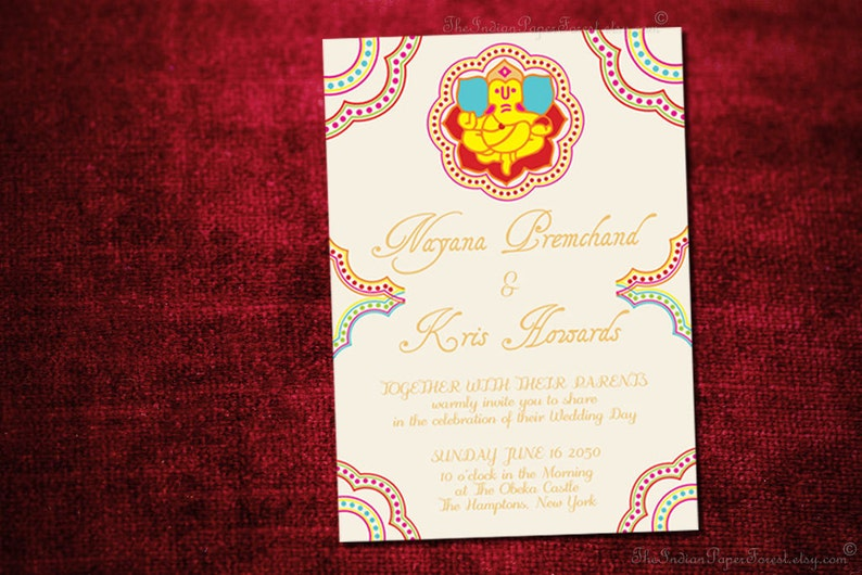 GANESHA Indian Wedding Invitation Design Card Engagement Party Bridal Shower Housewarming Hindu Jain Marathi Gujarati Tamil Malayalee Asian