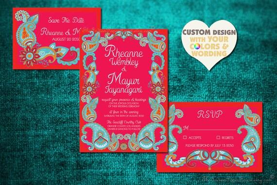 Boho Wedding Invitation Set Paisley Henna Indian Design Save The Date Card Hippie Mehndi Mehendi Hindu Asian Punjabi Sikh Jain Tamil Kannada