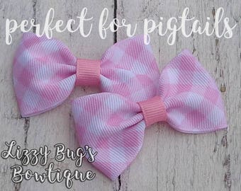 Hair Bows for Pigtails~Easter Hair Bow~Pink Gingham Hair Bow~Small Hair Bow~Tuxedo Hair Bow~Pigtail Hair Bows~Pastel Hair Bows~Hairbows