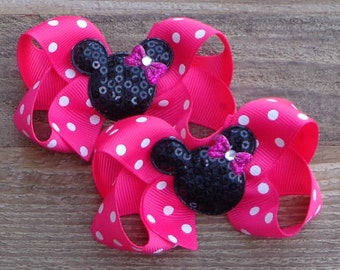 Custom Print Girl Mouse Head Small Korker Bow Set Red Black and Hot Pink with Dots Minnie