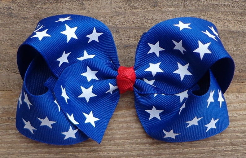 July 4th Hair Bow for Girls~4 Inch5 Inch Hair Bow~4th of JulyPatriotic Hair Bow~Pre-SchoolToddler Hairbow~BIG Bows for Girls~Military Bow