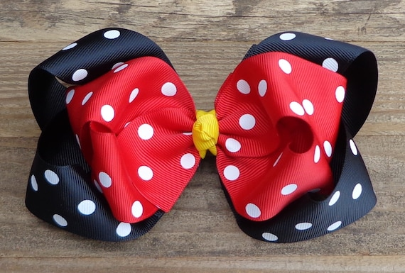Boutique Baby Girl Hair Clips Bows Minnie Mouse Hot Pink Dots Zebra Bowtique