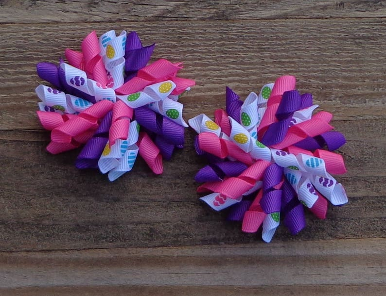 Easter Hair Bow~Pigtail Bows for Easter~PinkPurple Hair Bows~Easter Pigtail Bows~Korker Hair Bows~Hair Bows for Easter~Easter Egg Hair Bow